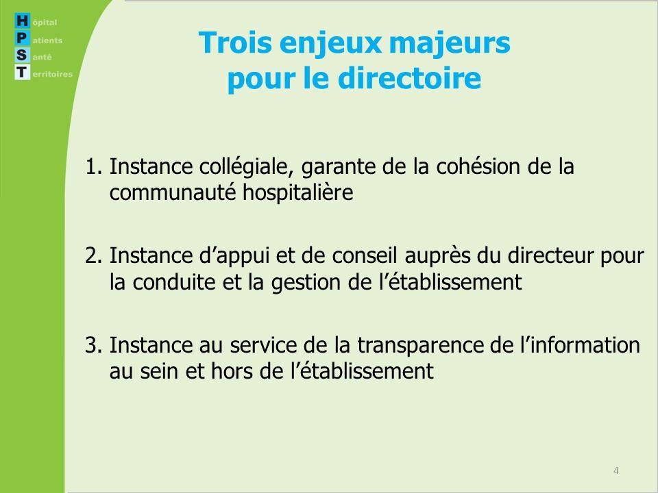 4 Trois enjeux majeurs pour le directoire 1.Instance collégiale, garante de la cohésion de la communauté hospitalière 2.Instance dappui et de conseil