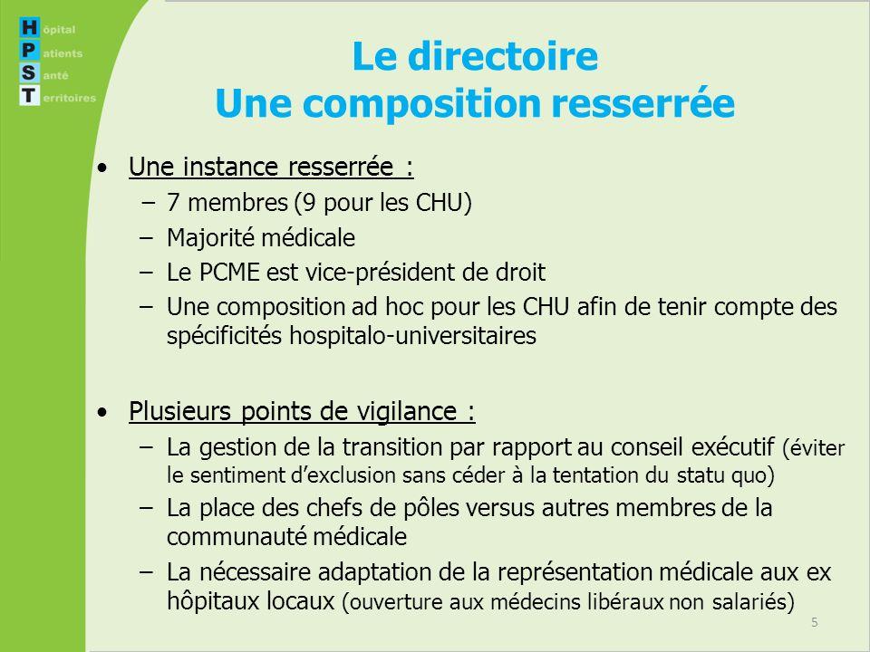 5 Le directoire Une composition resserrée Une instance resserrée : 7 membres (9 pour les CHU) –Majorité médicale –Le PCME est vice-président de droit