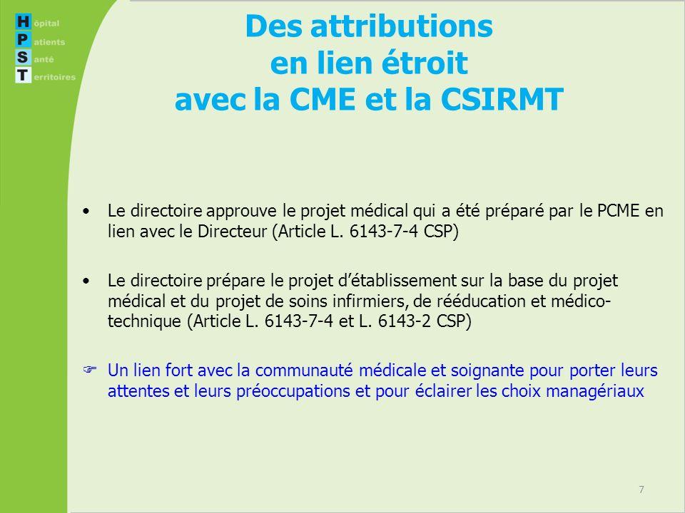 7 Des attributions en lien étroit avec la CME et la CSIRMT Le directoire approuve le projet médical qui a été préparé par le PCME en lien avec le Directeur (Article L.