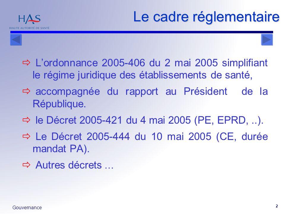 Gouvernance 2 Le cadre réglementaire Lordonnance 2005-406 du 2 mai 2005 simplifiant le régime juridique des établissements de santé, accompagnée du ra
