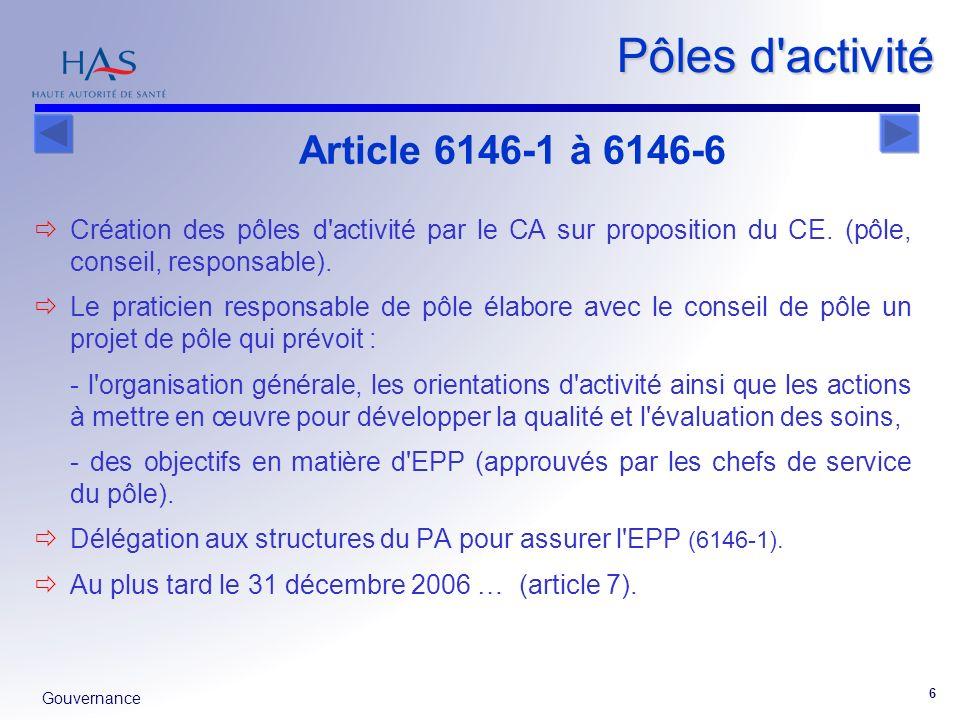 Gouvernance 6 Pôles d'activité Création des pôles d'activité par le CA sur proposition du CE. (pôle, conseil, responsable). Le praticien responsable d
