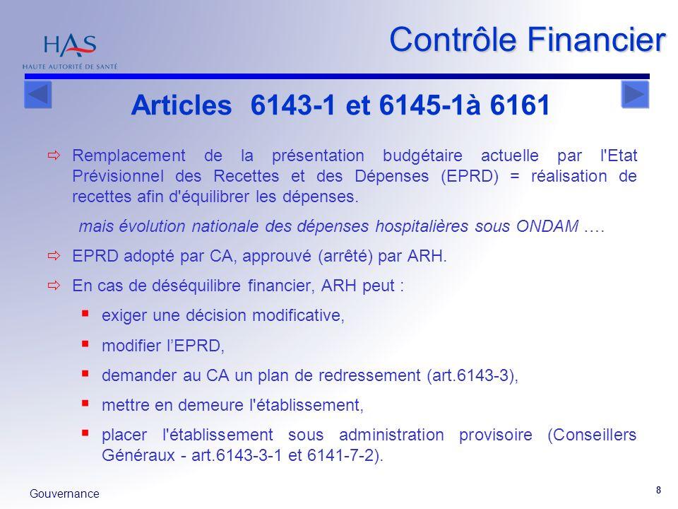 Gouvernance 8 Remplacement de la présentation budgétaire actuelle par l'Etat Prévisionnel des Recettes et des Dépenses (EPRD) = réalisation de recette