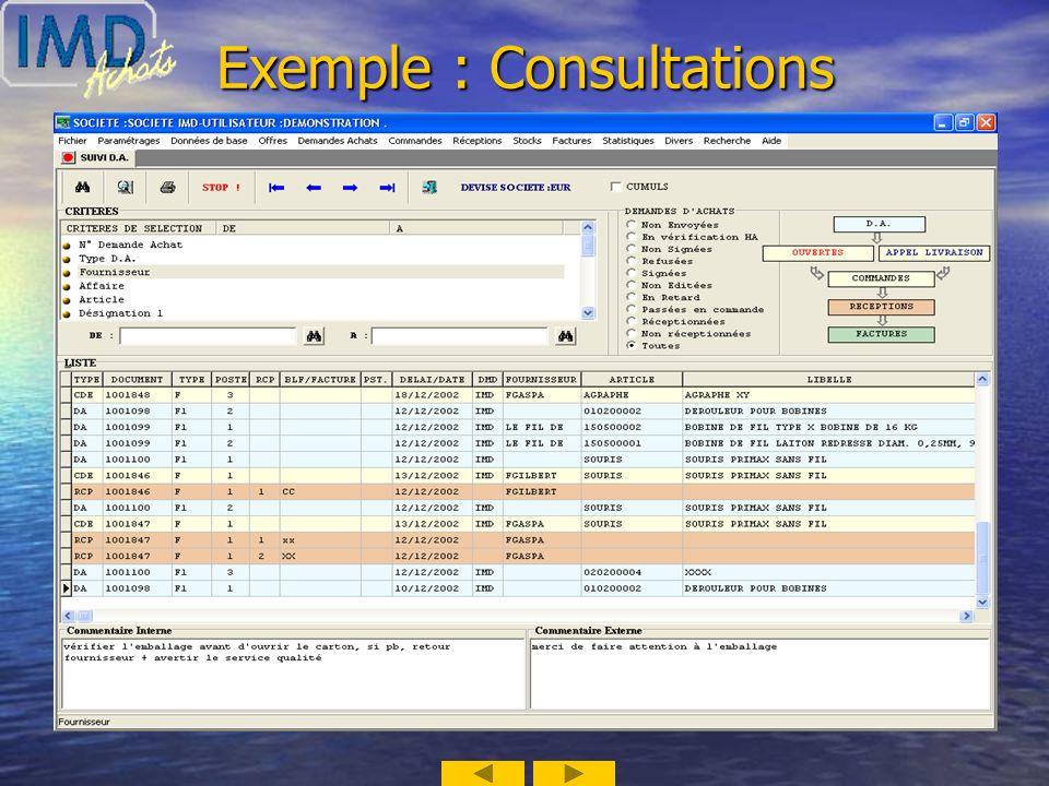 Exemple : Recherche / Saisie