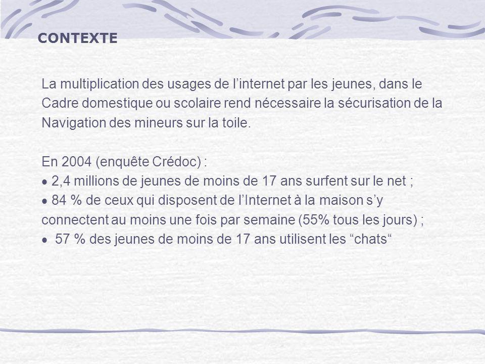 Le « Baromètre des usages de lInternet» commandé par la Délégation aux usages de linternet révèle quen juillet 2005 : sur les 10 millions de parents français qui ont au moins un enfant âgé de 6 à 15 ans, 87% pensent que la navigation des enfants peut être dangereuse.