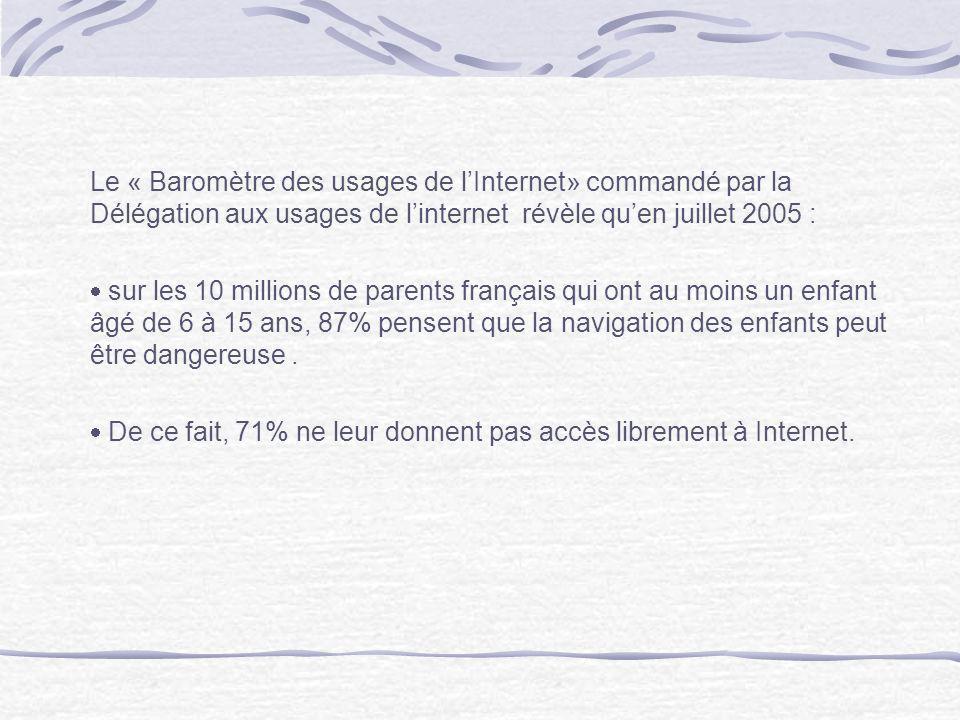 Le « Baromètre des usages de lInternet» commandé par la Délégation aux usages de linternet révèle quen juillet 2005 : sur les 10 millions de parents f