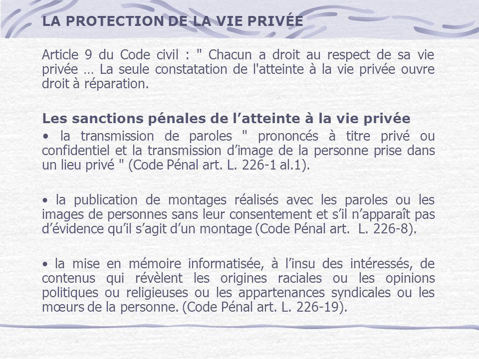 LA PROTECTION DE LA VIE PRIVÉE Article 9 du Code civil :