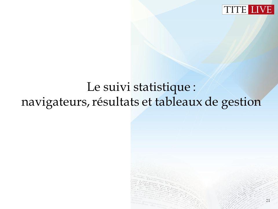 21 Le suivi statistique : navigateurs, résultats et tableaux de gestion