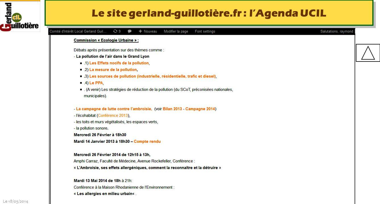 Le 18/05/2014 http://www.ucil.fr/commissions-2/ecologie-urbaine Le site gerland-guillotière.fr : lAgenda UCIL