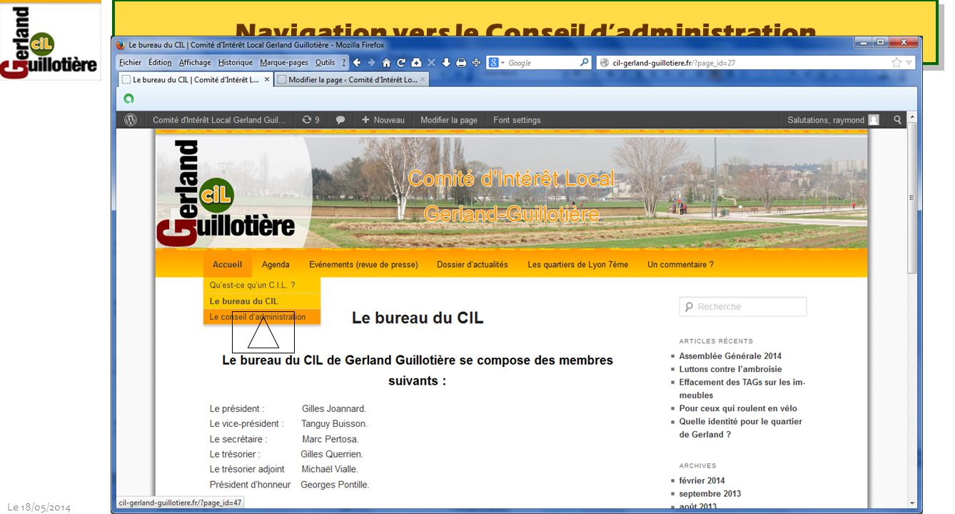 Le 18/05/2014 http://www.ucil.fr/commissions-2/ecologie-urbaine Navigation vers le Conseil dadministration