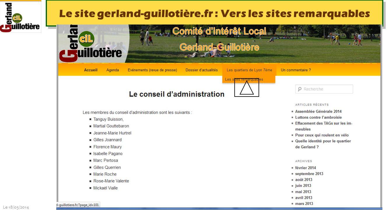 Le 18/05/2014 http://www.ucil.fr/commissions-2/ecologie-urbaine Le site gerland-guillotière.fr : Les sites remarquables du 7 ème