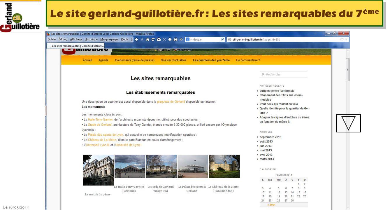 Le 18/05/2014 http://www.ucil.fr/commissions-2/ecologie-urbaine Le site gerland-guillotière.fr : Informations pratiques sur Lyon 7ème