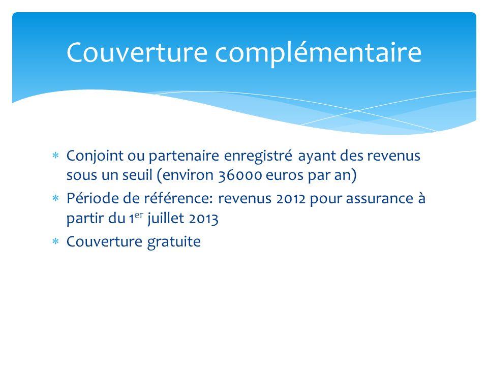 Conjoint ou partenaire enregistré ayant des revenus sous un seuil (environ 36000 euros par an) Période de référence: revenus 2012 pour assurance à par