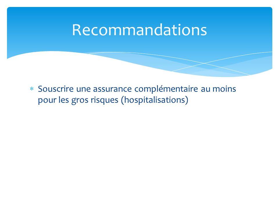 Souscrire une assurance complémentaire au moins pour les gros risques (hospitalisations) Recommandations