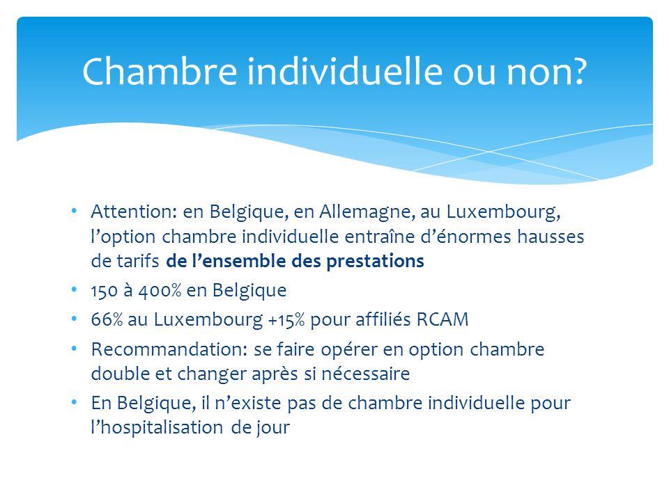 Attention: en Belgique, en Allemagne, au Luxembourg, loption chambre individuelle entraîne dénormes hausses de tarifs de lensemble des prestations 150
