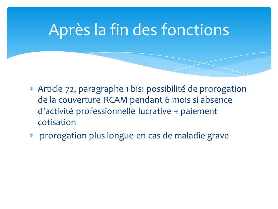 Article 72, paragraphe 1 bis: possibilité de prorogation de la couverture RCAM pendant 6 mois si absence dactivité professionnelle lucrative + paiemen