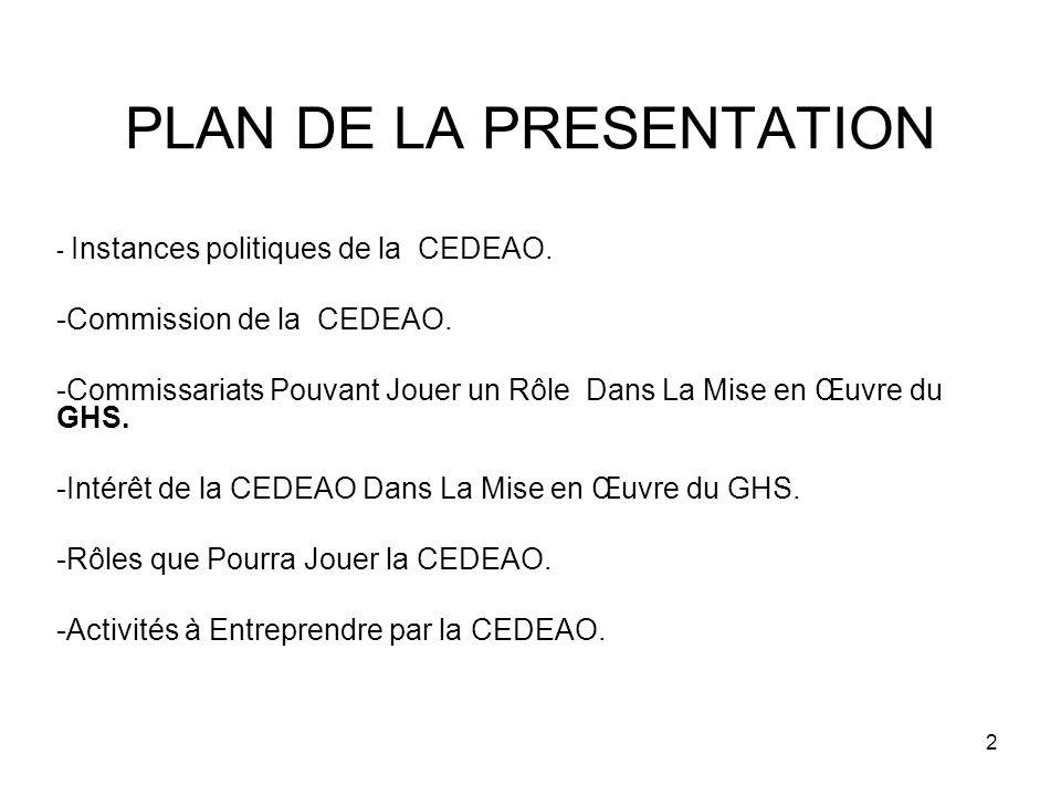 2 PLAN DE LA PRESENTATION - Instances politiques de la CEDEAO.