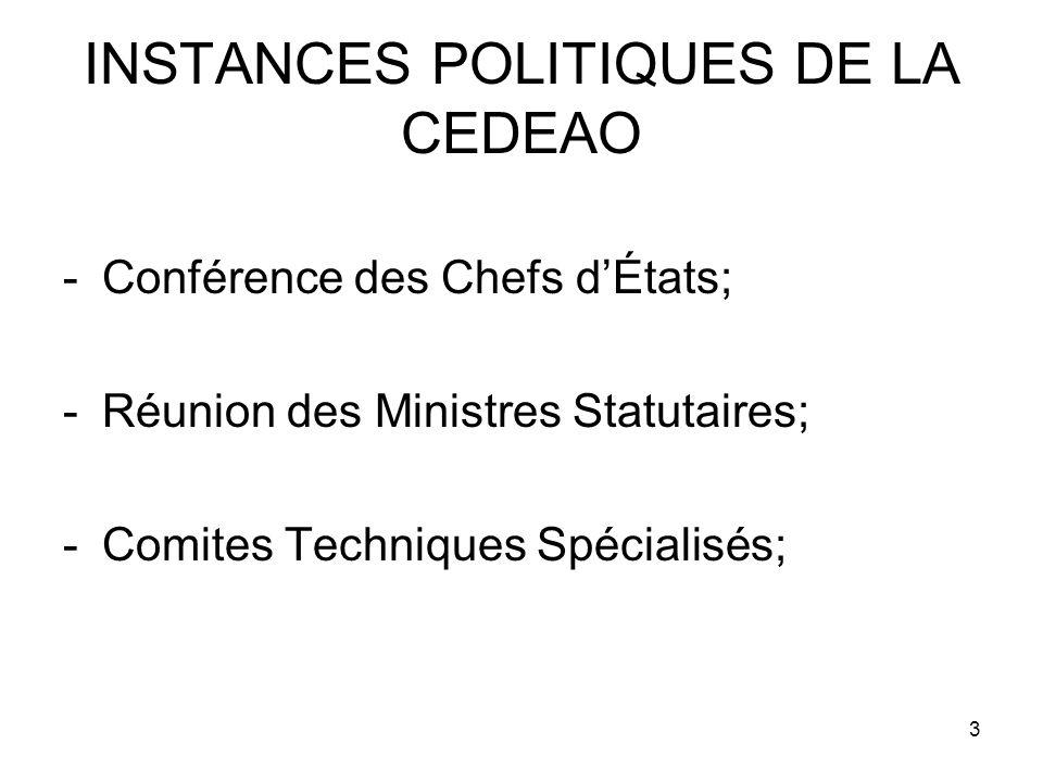 3 INSTANCES POLITIQUES DE LA CEDEAO -Conférence des Chefs dÉtats; -Réunion des Ministres Statutaires; -Comites Techniques Spécialisés;