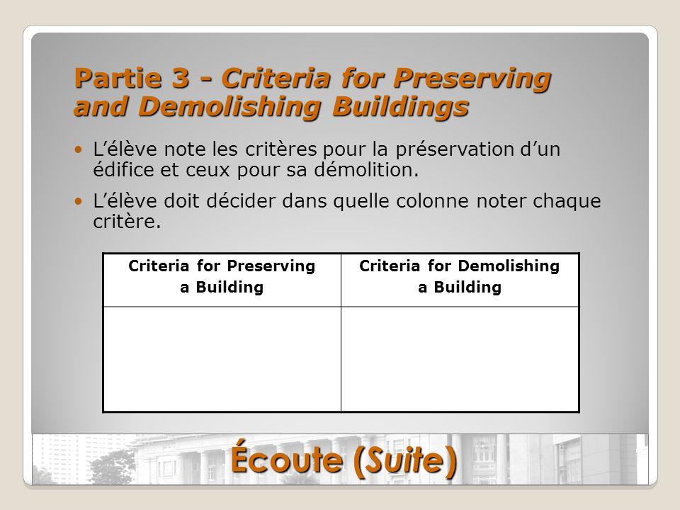 Partie 3 - Criteria for Preserving and Demolishing Buildings Lélève note les critères pour la préservation dun édifice et ceux pour sa démolition. Lél