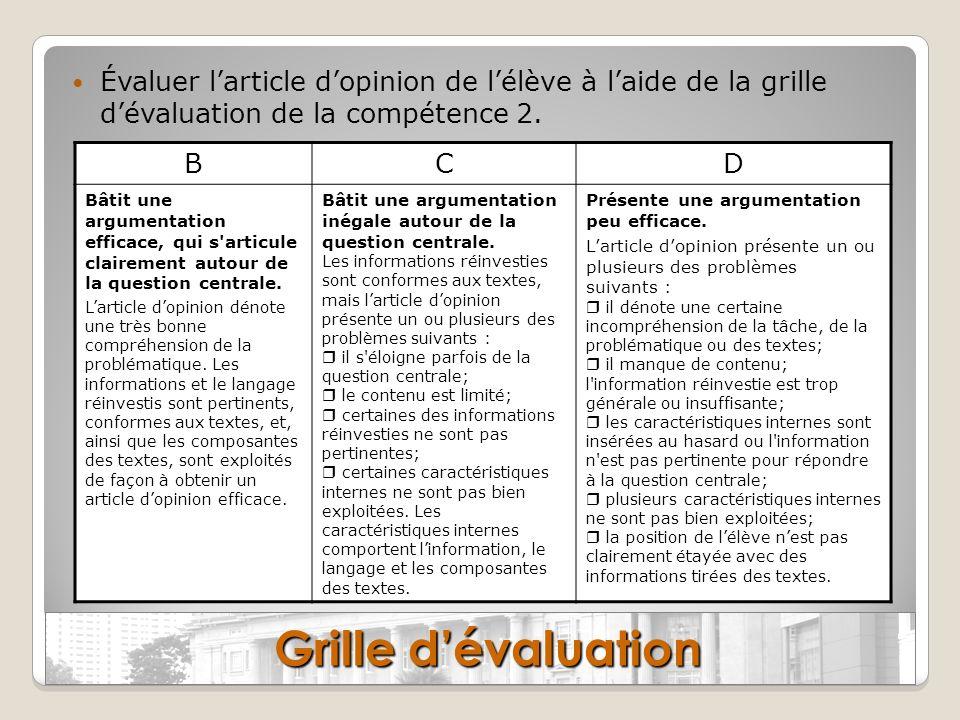 Évaluer larticle dopinion de lélève à laide de la grille dévaluation de la compétence 2. BCD Bâtit une argumentation efficace, qui s'articule claireme