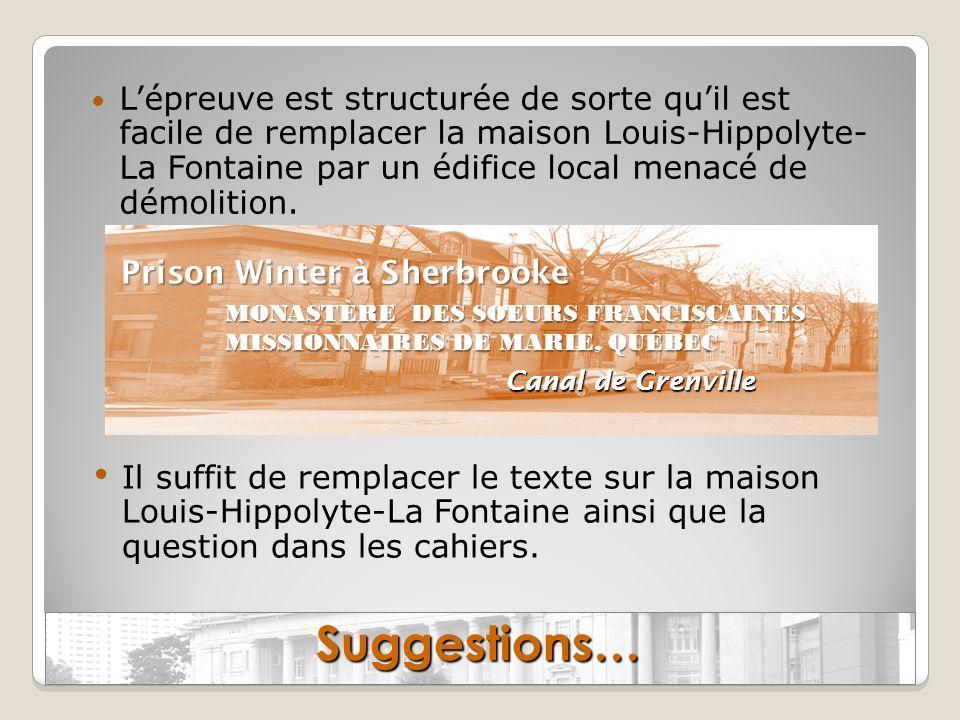 Lépreuve est structurée de sorte quil est facile de remplacer la maison Louis-Hippolyte- La Fontaine par un édifice local menacé de démolition. Sugges