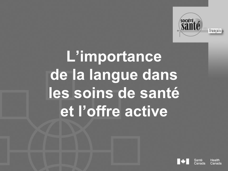 Loffre active Éléments : Affiches bilingues Salutations dans les deux langues au téléphone Salutations dans les deux langues en personne Documents papiers Sites web
