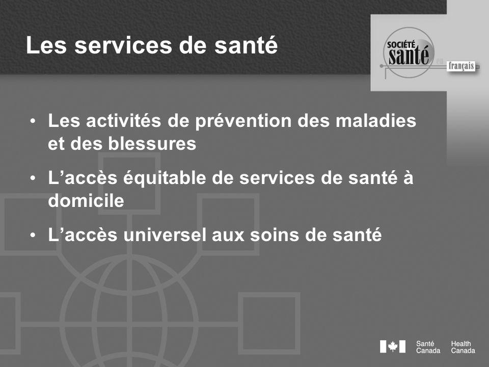 Les services de santé Les activités de prévention des maladies et des blessures Laccès équitable de services de santé à domicile Laccès universel aux