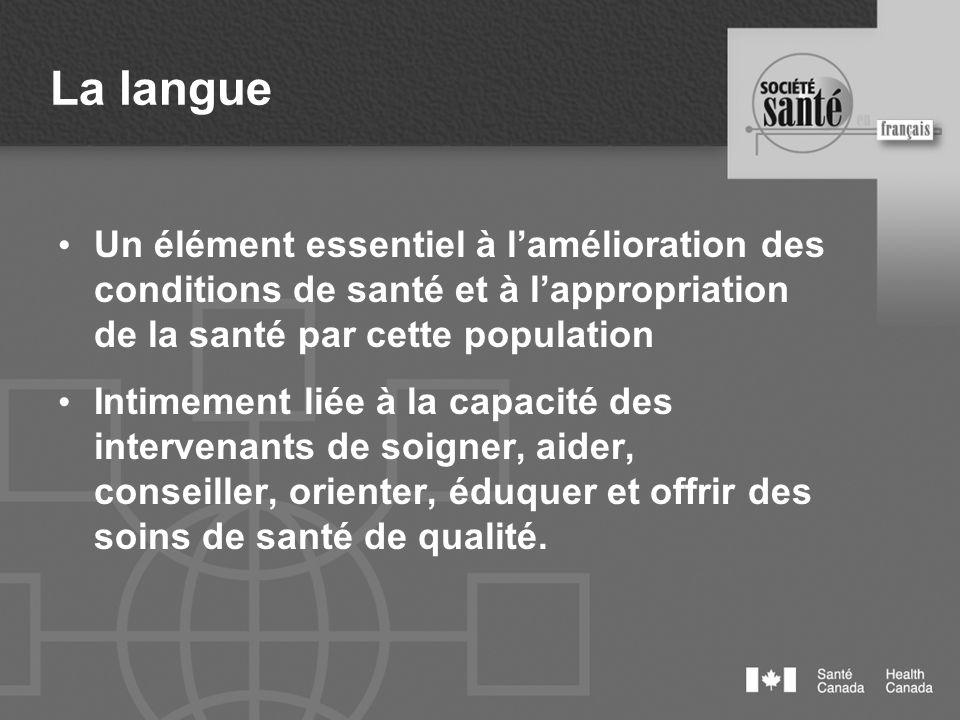 La langue Un élément essentiel à lamélioration des conditions de santé et à lappropriation de la santé par cette population Intimement liée à la capac