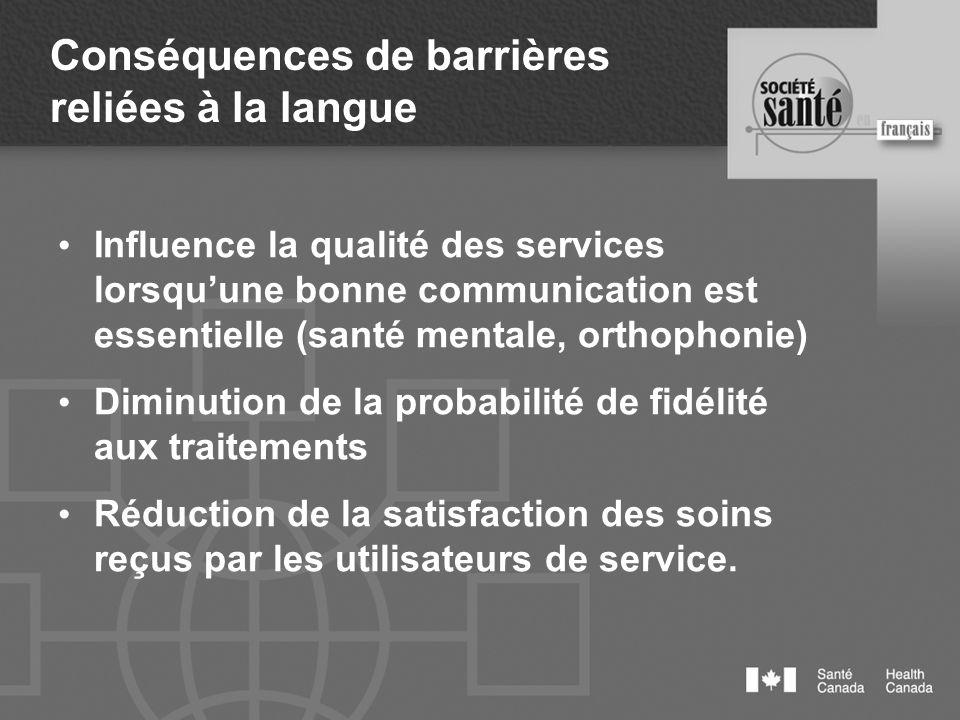 Conséquences de barrières reliées à la langue Influence la qualité des services lorsquune bonne communication est essentielle (santé mentale, orthopho