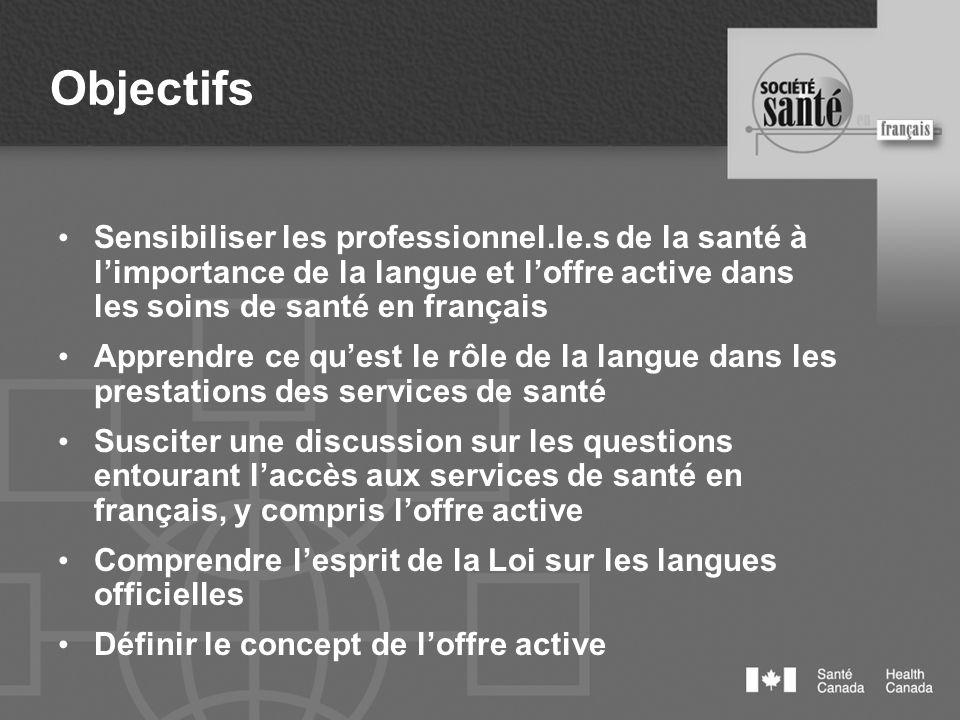 Objectifs Sensibiliser les professionnel.le.s de la santé à limportance de la langue et loffre active dans les soins de santé en français Apprendre ce