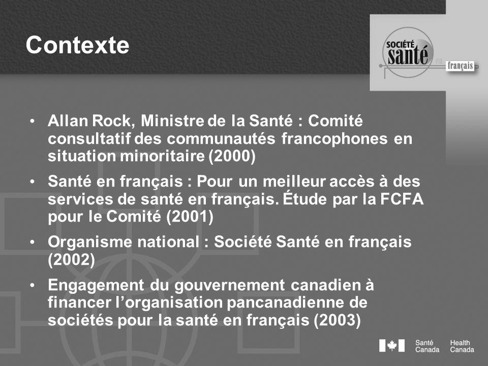 Contexte Société Santé et Mieux-être en français du NB (2003) Création des trois réseaux- action Communautaire Formation et recherche Organisation des services Le Comité santé en français de Fredericton (2003)