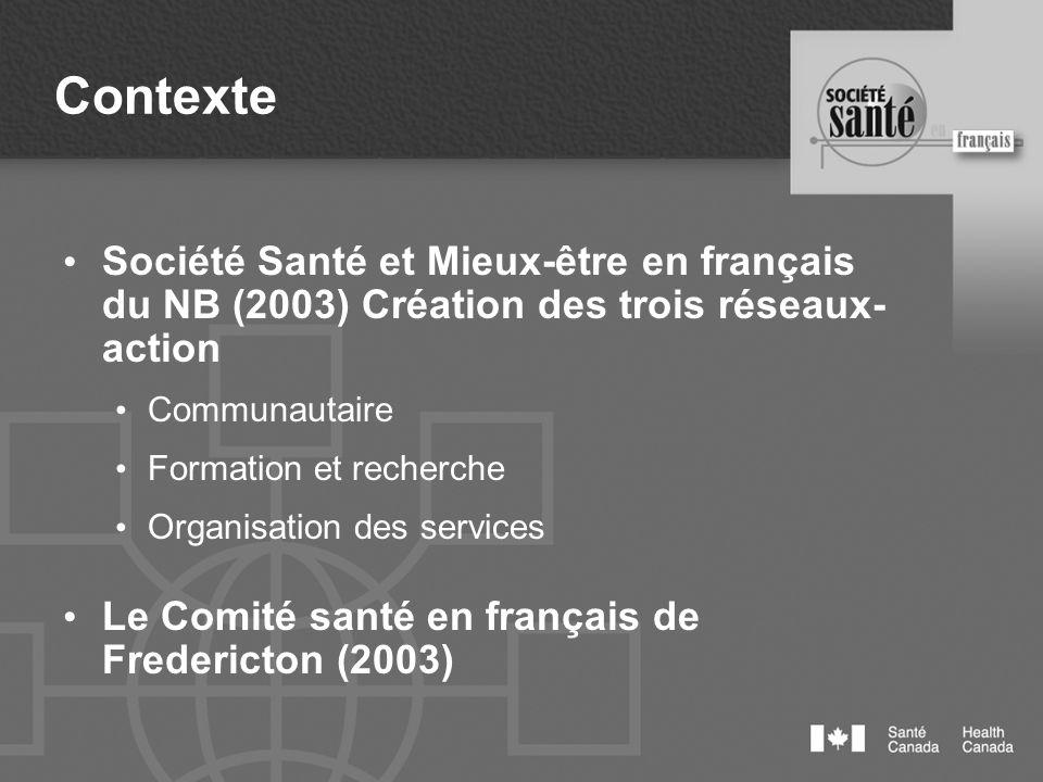 Contexte Société Santé et Mieux-être en français du NB (2003) Création des trois réseaux- action Communautaire Formation et recherche Organisation des