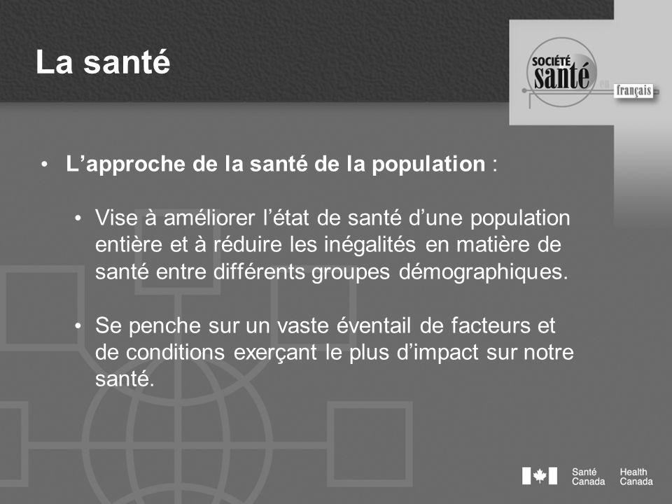 La santé Lapproche de la santé de la population : Vise à améliorer létat de santé dune population entière et à réduire les inégalités en matière de sa