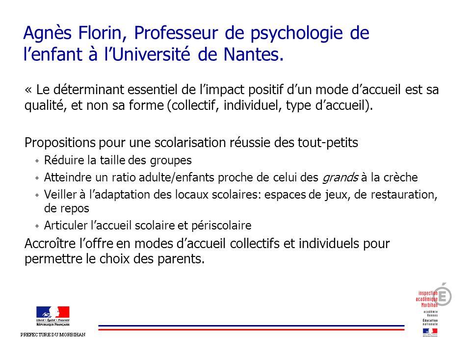 Agnès Florin, Professeur de psychologie de lenfant à lUniversité de Nantes. « Le déterminant essentiel de limpact positif dun mode daccueil est sa qua
