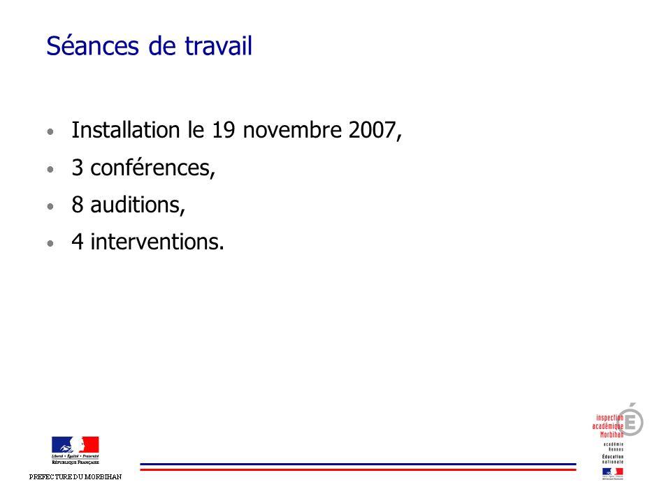 Séances de travail Installation le 19 novembre 2007, 3 conférences, 8 auditions, 4 interventions.