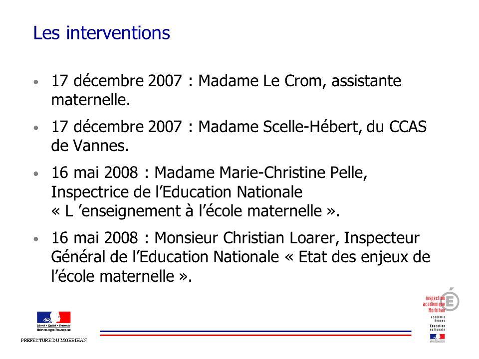 Les interventions 17 décembre 2007 : Madame Le Crom, assistante maternelle. 17 décembre 2007 : Madame Scelle-Hébert, du CCAS de Vannes. 16 mai 2008 :
