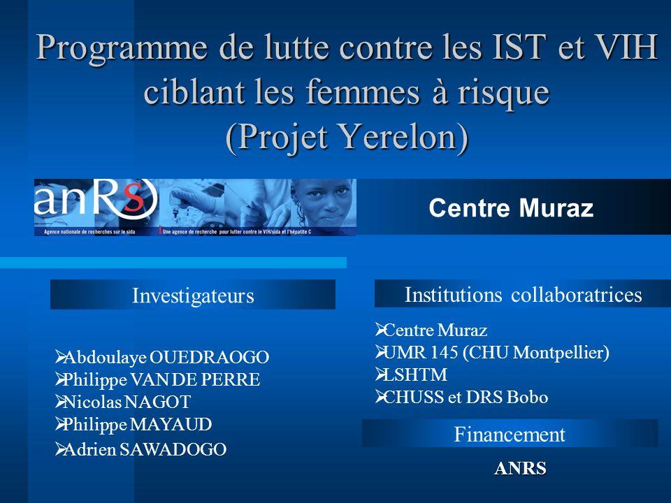 Programme de lutte contre les IST et VIH ciblant les femmes à risque (Projet Yerelon) Investigateurs FinancementANRS Institutions collaboratrices Cent