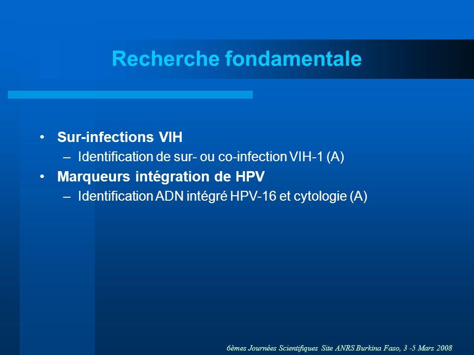 6èmes Journées Scientifiques Site ANRS Burkina Faso, 3 -5 Mars 2008 Recherche fondamentale Sur-infections VIH –Identification de sur- ou co-infection