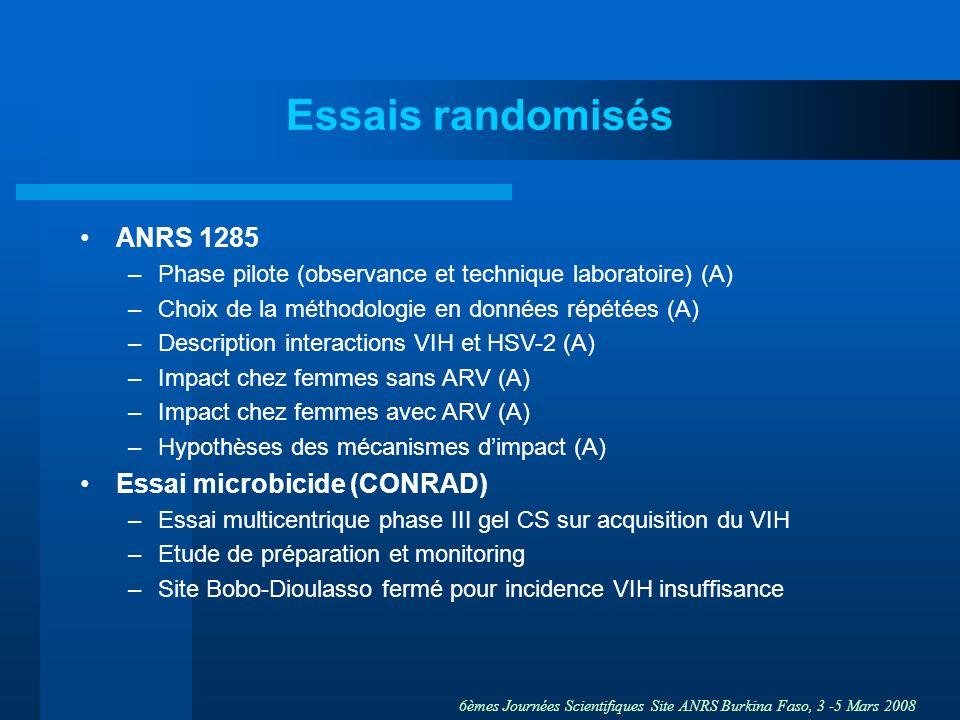 6èmes Journées Scientifiques Site ANRS Burkina Faso, 3 -5 Mars 2008 Essais randomisés ANRS 1285 –Phase pilote (observance et technique laboratoire) (A