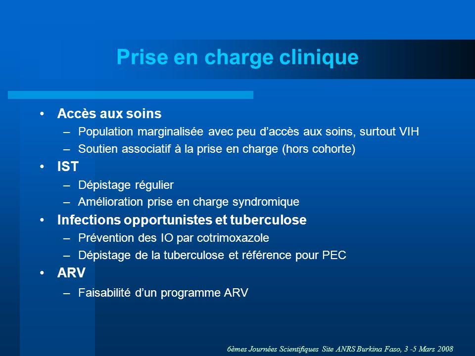 6èmes Journées Scientifiques Site ANRS Burkina Faso, 3 -5 Mars 2008 Prise en charge clinique Accès aux soins –Population marginalisée avec peu daccès