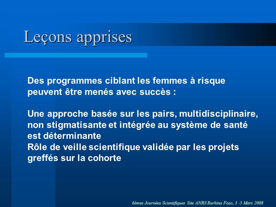 6èmes Journées Scientifiques Site ANRS Burkina Faso, 3 -5 Mars 2008 Leçons apprises Des programmes ciblant les femmes à risque peuvent être menés avec