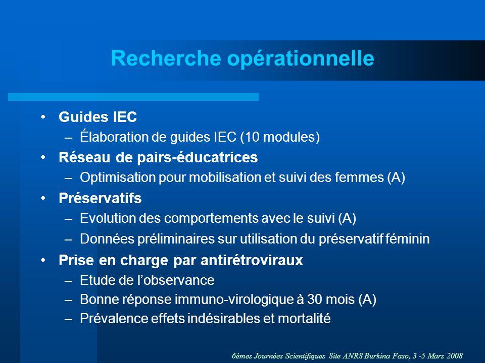 6èmes Journées Scientifiques Site ANRS Burkina Faso, 3 -5 Mars 2008 Recherche opérationnelle Guides IEC –Élaboration de guides IEC (10 modules) Réseau