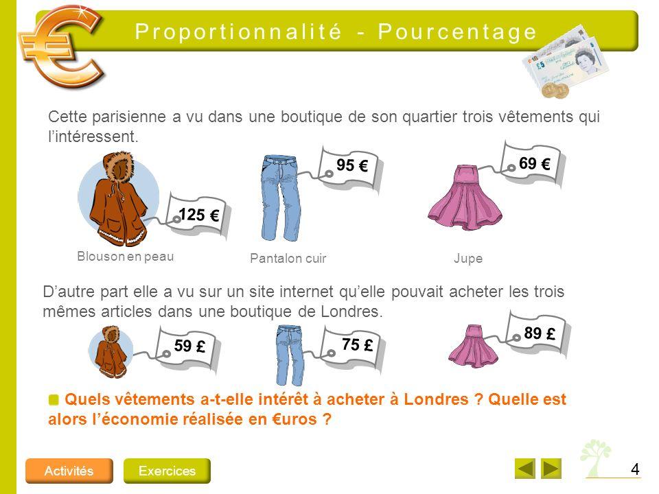 4 ActivitésExercices Proportionnalité - Pourcentage Cette parisienne a vu dans une boutique de son quartier trois vêtements qui lintéressent. Quels vê