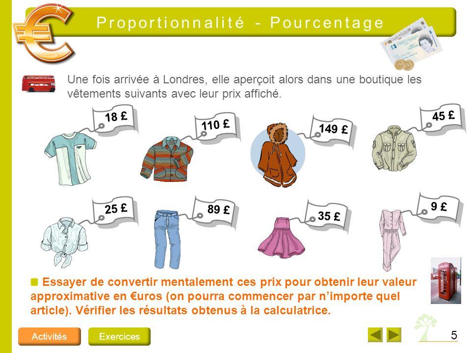 5 ActivitésExercices Proportionnalité - Pourcentage Une fois arrivée à Londres, elle aperçoit alors dans une boutique les vêtements suivants avec leur