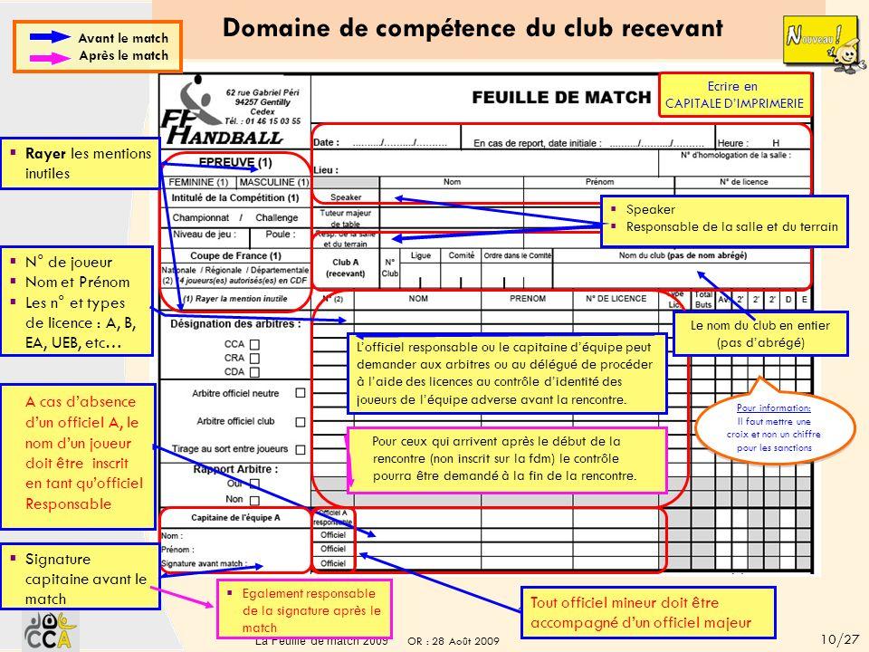 Les changements 2009 / verso Des dispositions différentes Suppression des signatures sous « Réclamations du capitaine » car la signature en bas de pag