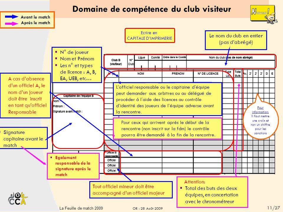 Domaine de compétence du club recevant A cas dabsence dun officiel A, le nom dun joueur doit être inscrit en tant quofficiel Responsable Le nom du clu