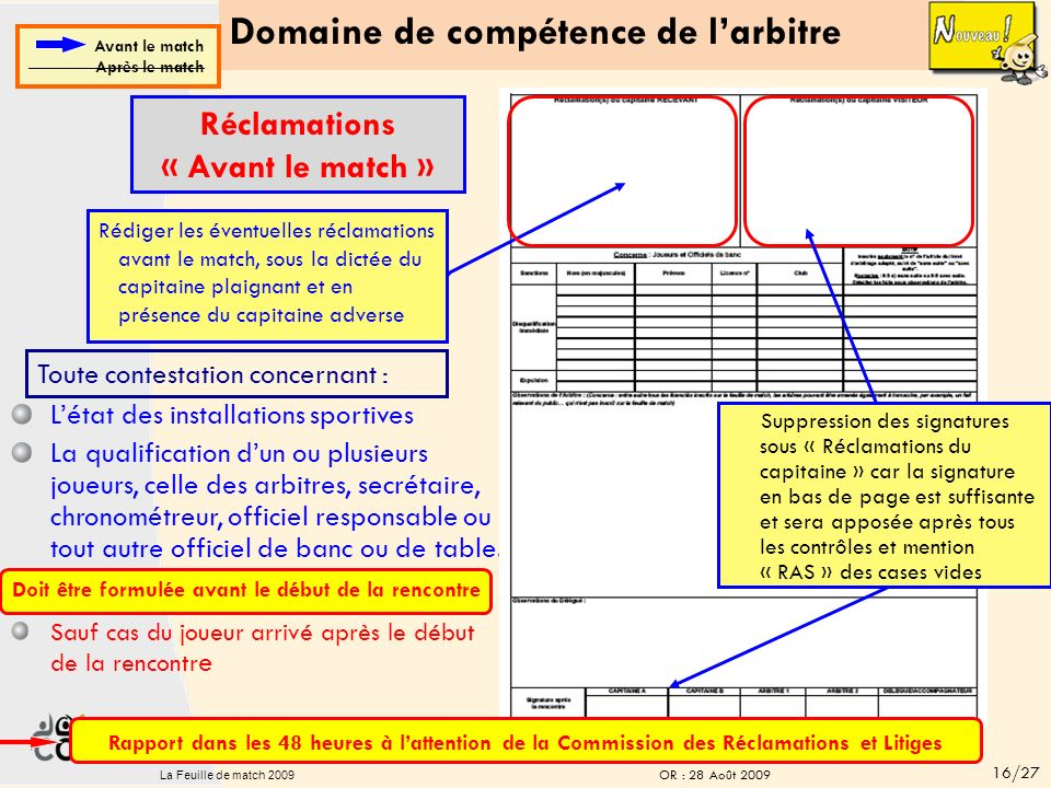 Domaine de compétence de larbitre IMPERATIF: Les arbitres doivent mettre « RAS » dans toutes les cases non utilisées Avant le match Après le match Vér