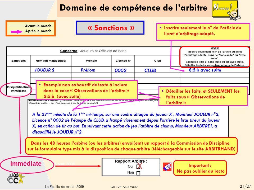 Domaine de compétence de larbitre 20La Feuille de match 20 CLUB B CLUB C immédiate JOUEUR 3 Prénom 0003 CLUB 8:6 avec suite Inscrire seulement le n° de larticle du livret darbitrage adapté.