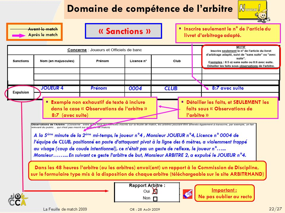 Domaine de compétence de larbitre 21La Feuille de matchV2-sept 2008 21 CLUB B CLUB C immédiate JOUEUR 2 Prénom 0002 CLUB 8:5 b avec suite Inscrire seulement le n° de larticle du livret darbitrage adapté.