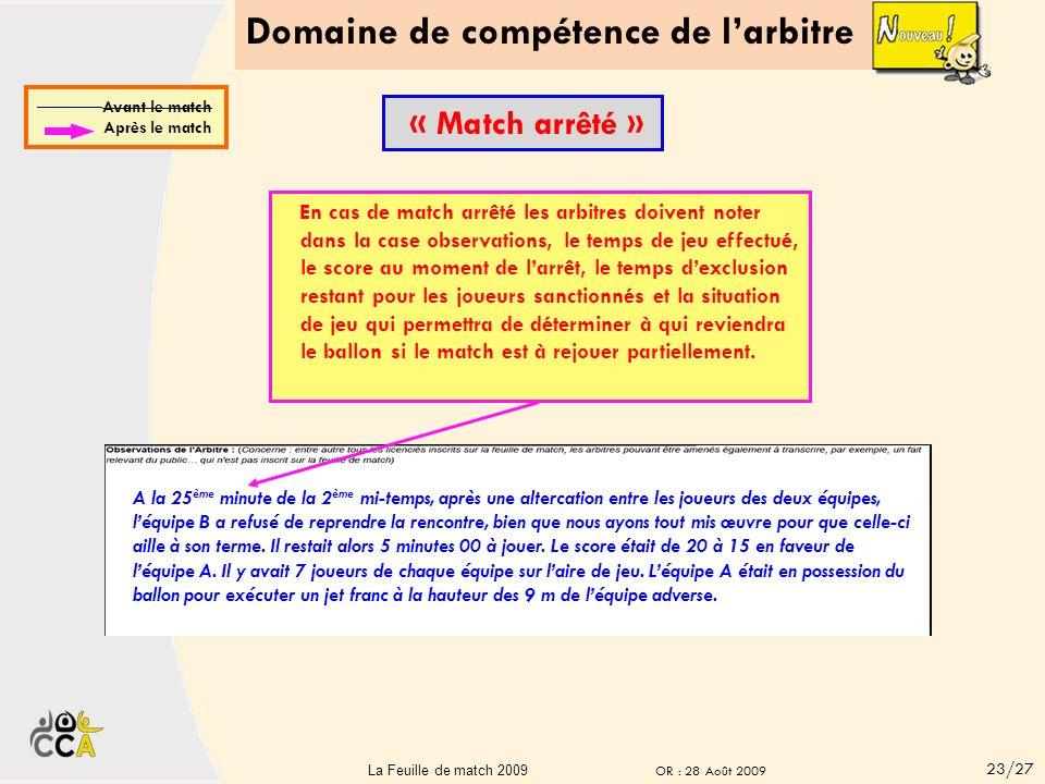 Domaine de compétence de larbitre 22La Feuille de match 22 A la 5 ème minute de la 2 ème mi-temps, le joueur n°4, Monsieur JOUEUR n°4, Licence n° 0004
