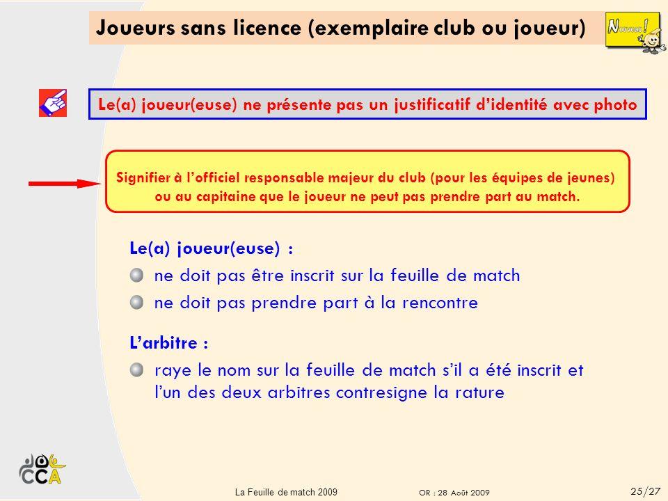 Joueurs sans licence (exemplaire club ou joueur) Le(a) joueur(euse) présente un justificatif didentité avec photo Larbitre : porte, sur la feuille de match, la mention : LNP (Licence Non Présentée) à la place du « N° de licence » Aucun n° de licence ne doit être inscrit fait signer le(a) joueur(euse) derrière LNP dans les deux cases : n° licence et type licence Le(a) joueur(euse) doit justifier de son identité.
